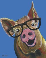 Pig Wilbur Glasses Blue Fine-Art Print