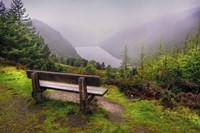Bench Over the Upper Lake in Glendalough Ireland Fine-Art Print