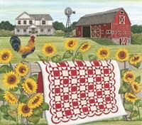 Red & White Farm Quilt Fine-Art Print