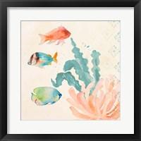 Tropical Teal Coral Medley I Fine-Art Print