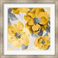Yellow and Gray Floral Delicate I Fine-Art Print
