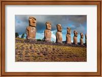 Easter Island, Chile A Row Of Moai Statues Fine-Art Print