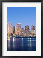 Hawaii, Honolulu, Twilight Waikiki Skyline Fine-Art Print