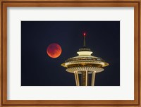 Blood Moon Rises Over The Seattle Space Needle Fine-Art Print