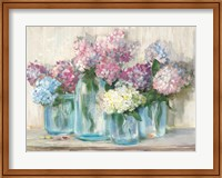 Hydrangeas in Glass Jar Pastel Crop Fine-Art Print