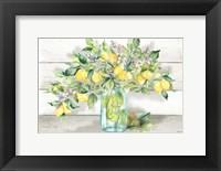 Watercolor Lemons in Mason Jar Landscape Fine-Art Print