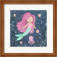 Mermaid and Octopus Navy I Fine-Art Print