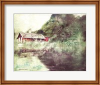 Red Cabin Forest Faith Fine-Art Print