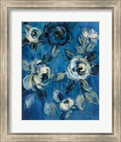 Loose Flowers on Blue I Fine-Art Print