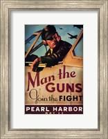 Pearl Harbor Art Deco Man the Guns Wall Poster