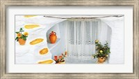 Orange Pot with Lace Curtains Fine-Art Print