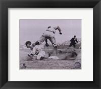 Ty Cobb - Sliding into base, sepia Fine-Art Print