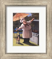 Barbecue Chef with Dog Fine-Art Print