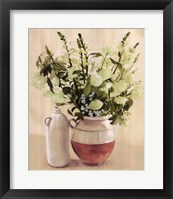 White Flowers In Vase With Bottle Fine-Art Print