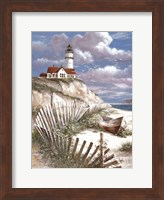 Lighthouse with Deserted Canoe Fine-Art Print