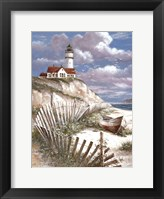 Lighthouse with Deserted Canoe Fine-Art Print