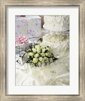 Cake with rings and gifts on a sheet Fine-Art Print