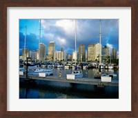 Sailboats docked in a harbor, Ala Wai Marina, Waikiki Beach, Honolulu, Oahu, Hawaii, USA Fine-Art Print