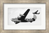 Low angle view of two bomber planes in flight, B-24 Liberator Fine-Art Print