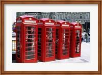 Telephone booths in a row, London, England Fine-Art Print