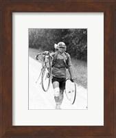 Italian Giusto Cerutti has a broken wheel after a fall. Tour de France 1928 Fine-Art Print