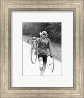 Italian Giusto Cerutti has a broken wheel after a fall. Tour de France 1928 Fine-Art Print