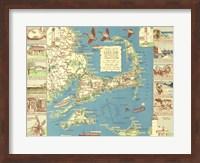 1940 Colonial Craftsman Decorative Map of Cape Cod, Massachusetts Fine-Art Print