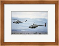 A left side view of an AH-1 Cobra helicopter, front, and an OH-58 Kiowa helicopter Fine-Art Print