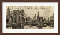 Vintage NY Brooklyn Bridge Skyline Fine-Art Print