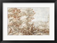 A Wooded Landscape with Travelers by a Stream, a Town Beyond Fine-Art Print