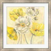 Gold and White Contemporary Poppies I Fine-Art Print