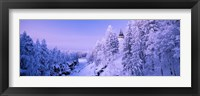 Snow covered trees in front of a hotel, Imatra State Hotel, Imatra, Finland Fine-Art Print