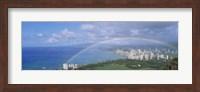 Rainbow Over A City, Waikiki, Honolulu, Oahu, Hawaii, USA Fine-Art Print