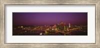 High angle view of buildings lit up at night, Three Rivers Stadium, Pittsburgh, Pennsylvania, USA Fine-Art Print