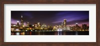 Buildings at the waterfront lit up at night, Chicago, Illinois Fine-Art Print