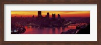 Silhouette of buildings at dawn, Three Rivers Stadium, Pittsburgh, Allegheny County, Pennsylvania, USA Fine-Art Print