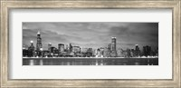 Black and White view of Buildings at the waterfront, Chicago, Illinois Fine-Art Print
