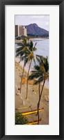 High angle view of tourists on the beach, Waikiki Beach, Honolulu, Oahu, Hawaii, USA Fine-Art Print