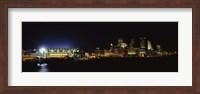 Stadium lit up at night in a city, Heinz Field, Three Rivers Stadium,Pittsburgh, Pennsylvania, USA Fine-Art Print