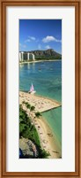 Aerial view of a beach, Diamond Head, Waikiki Beach, Oahu, Honolulu, Hawaii, USA Fine-Art Print