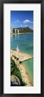 Aerial view of a beach, Diamond Head, Waikiki Beach, Oahu, Honolulu, Hawaii, USA Fine-Art Print
