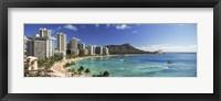 Buildings along the coastline, Diamond Head, Waikiki Beach, Oahu, Honolulu, Hawaii, USA Fine-Art Print