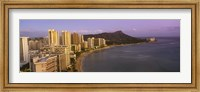 High angle view of buildings at the waterfront, Waikiki Beach, Honolulu, Oahu, Hawaii, USA Fine-Art Print