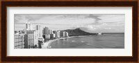 Diamond Head, Waikiki, Oahu, Honolulu, Hawaii (black & white) Fine-Art Print