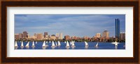 View of boats on a river by a city, Charles River,  Boston Fine-Art Print