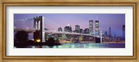 Bridge at dusk, Brooklyn Bridge, East River, World Trade Center, Wall Street, Manhattan, New York City, New York State, USA Fine-Art Print
