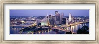 Buildings in a city lit up at dusk, Pittsburgh, Allegheny County, Pennsylvania, USA Fine-Art Print