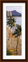 High angle view of tourists on the beach, Waikiki Beach, Honolulu, Oahu, Hawaii, USA Fine-Art Print