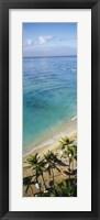 High angle view of palm trees with beach umbrellas on the beach, Waikiki Beach, Honolulu, Oahu, Hawaii, USA Fine-Art Print