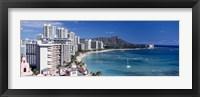 Buildings at the waterfront, Waikiki Beach, Honolulu, Oahu, Maui, Hawaii, USA Fine-Art Print